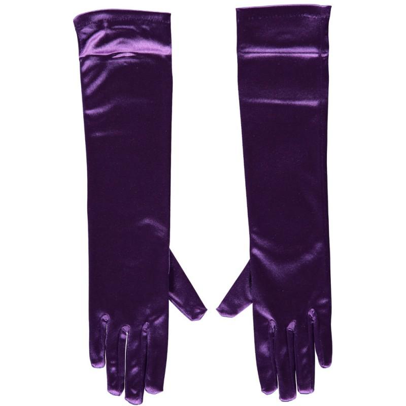Gala handschoen 40 cm van Satijn-Purple