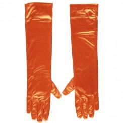 Gala handschoen 40 cm van Satijn-Orange