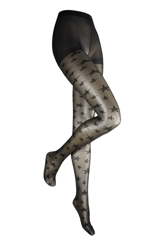 Panty met sterren motief-L/XL-Black