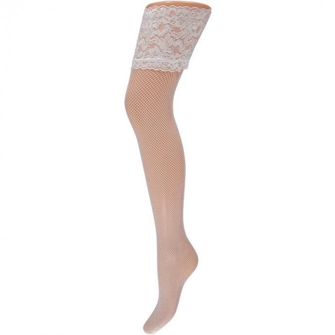 Net stay-up kousen met kanten rand -L/XL-White