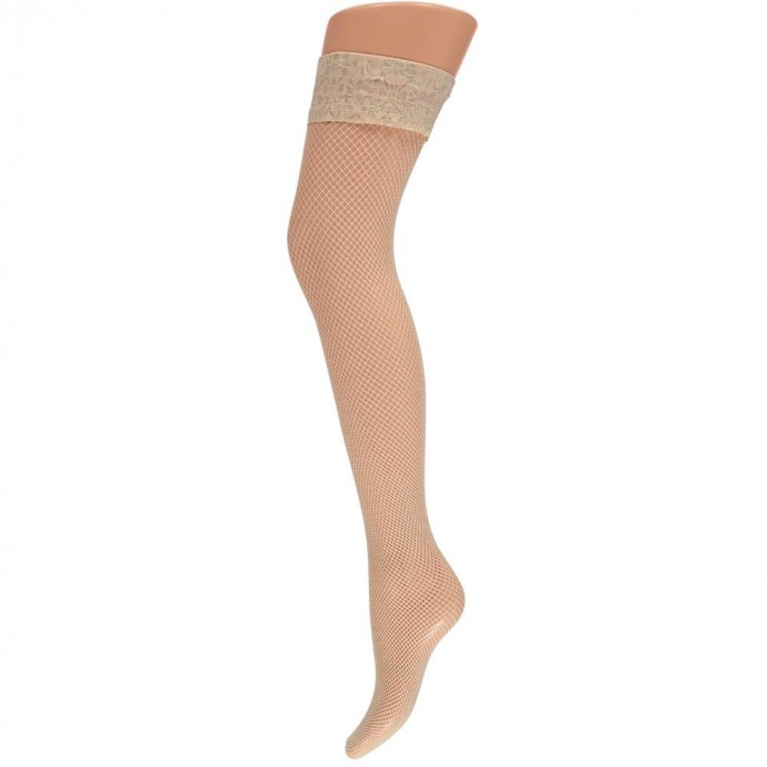 Net stay-up kousen met kanten rand -S/M-Sand beige