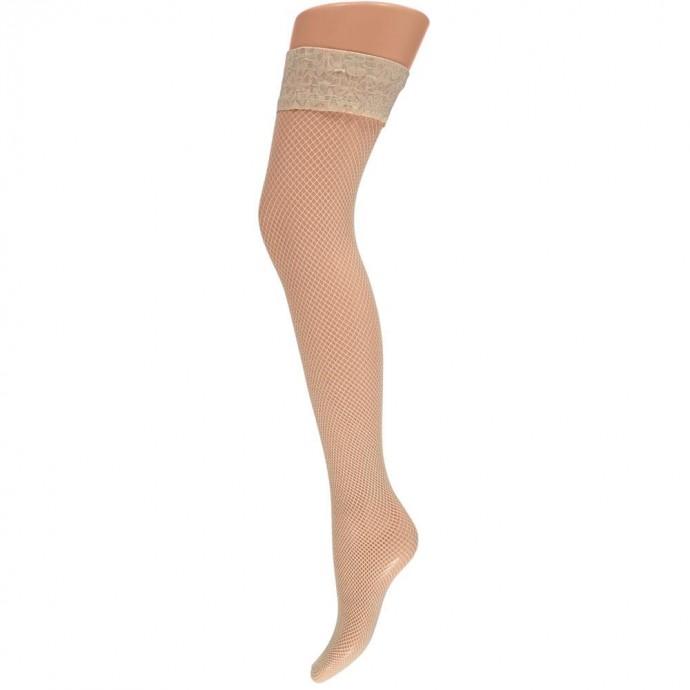 Net stay-up kousen met kanten rand -L/XL-Sand beige