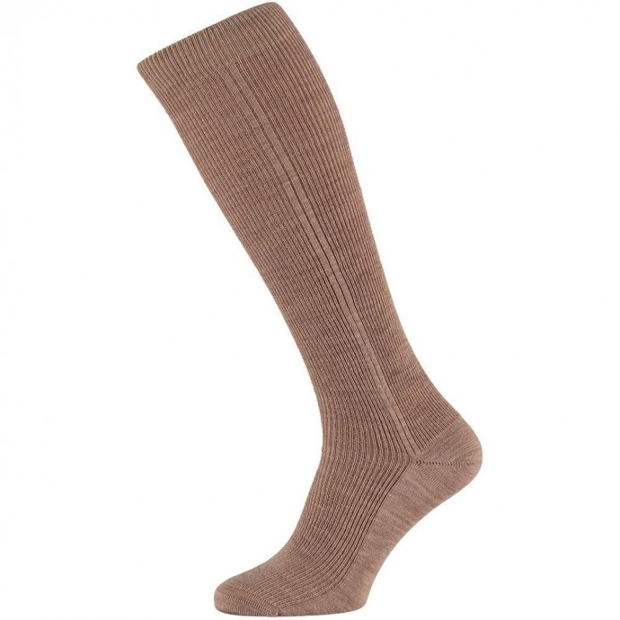 Heren kniekousen van wol-39/42-Medium beige