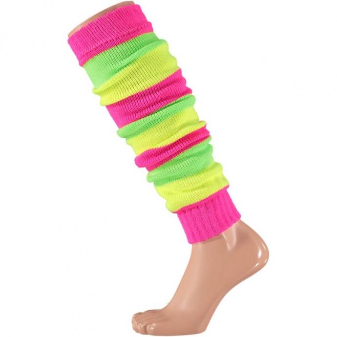 Beenwarmer in carnavalskleuren-One-size-Fluor pink
