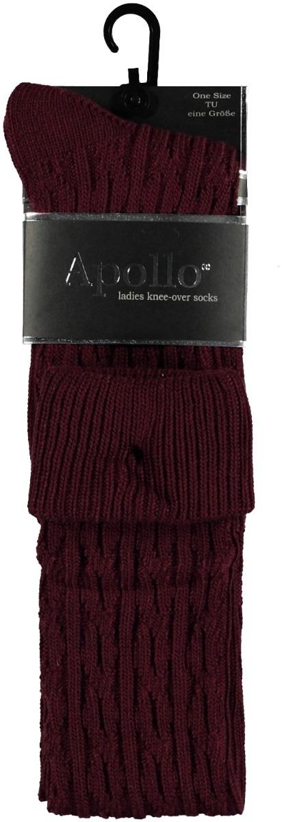 Overknee kousen met kabel-One-size-Bordeaux