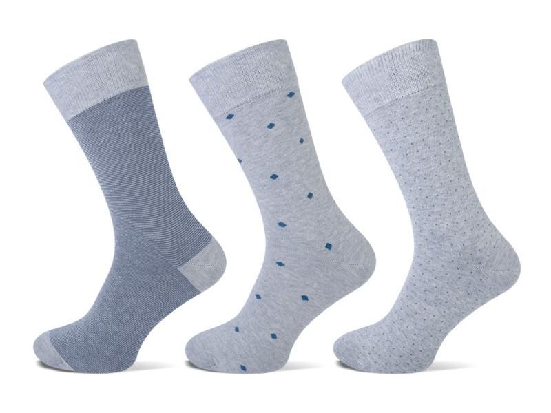 Teckel sokken met stippen-Grey melange