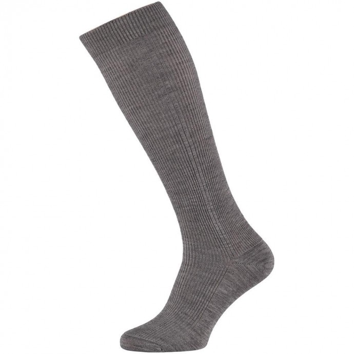 Heren kniekousen van wol-42/45-Medium grey