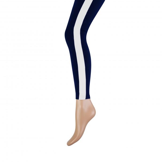 Lange dames legging met brede bies-S/M-White