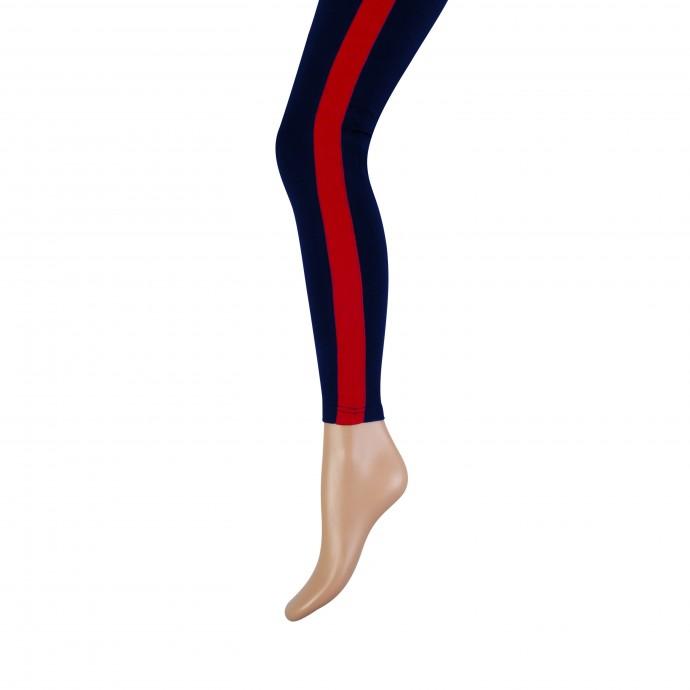 Lange dames legging met brede bies-L/XL-Red