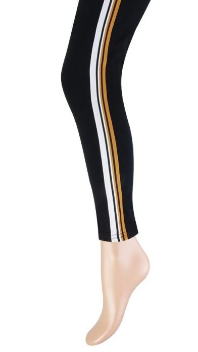 Katoenen dames legging gebreide streep-Ocre-S/M