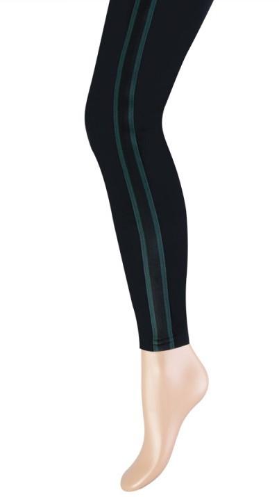 Katoenen dames legging brede streep-S/M-Green