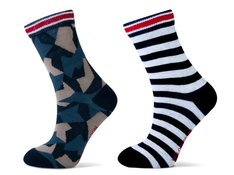 Katoenen Jongens sokken met strepen en army print.-27/30