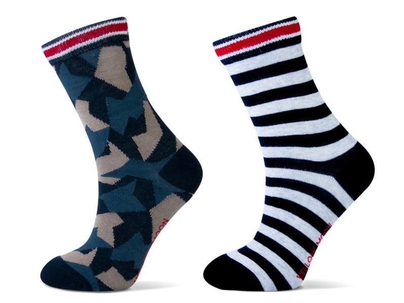 Katoenen Jongens sokken met strepen en army print.-31/34