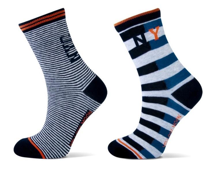 Katoenen Jongens sokken met strepen NEW YORK-35/38
