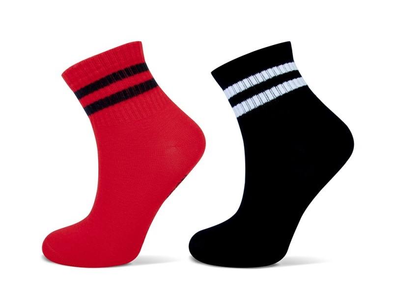 Shortsock YM sport strepen 2-pack-Black red-35/38