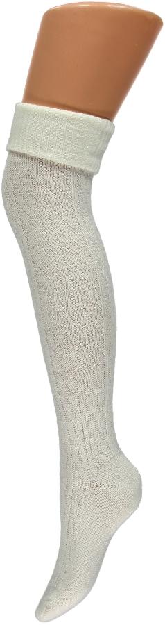 Overknee kousen met kabel-One-size-off-white