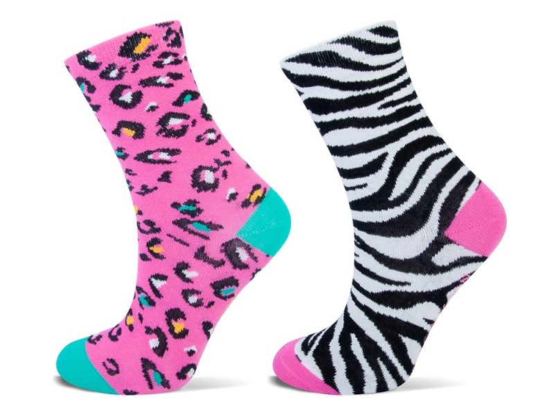 Shortsock YM dierenprint 2-pack-Pink-39/42