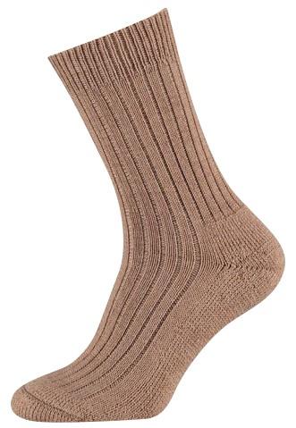 Wollen sokken met een badstof zool-39/42-Camel