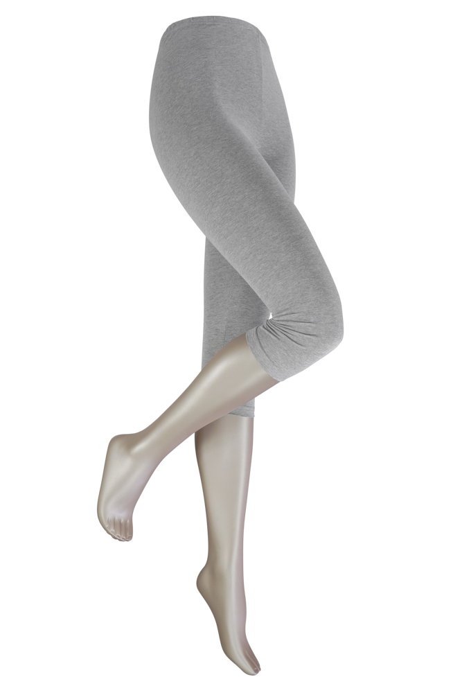 katoenen capri legging -Light grey melange-S/M