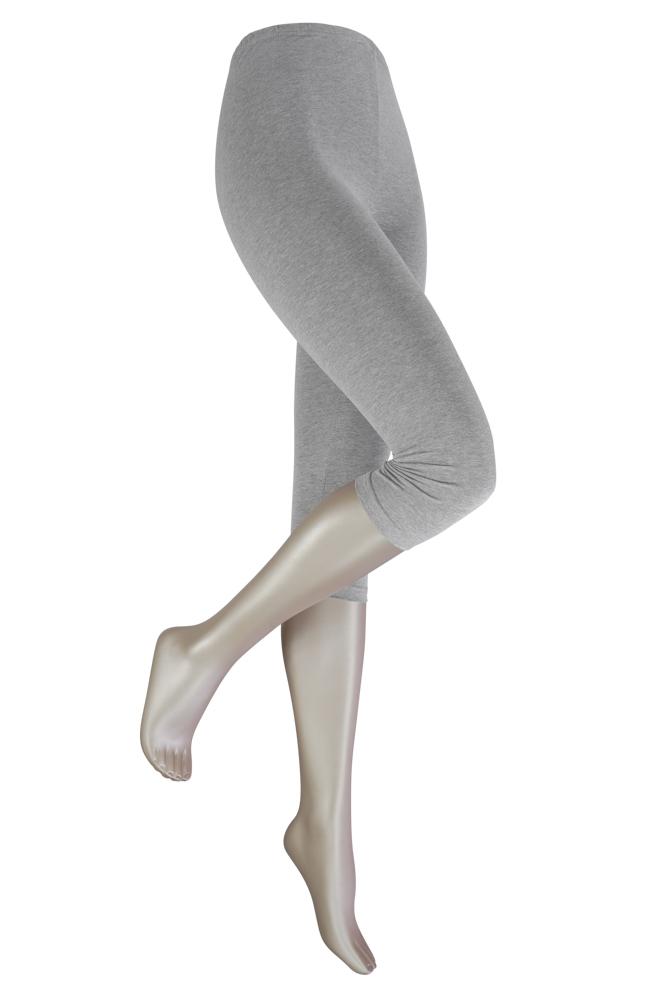 katoenen capri legging -Light grey melange-L/XL