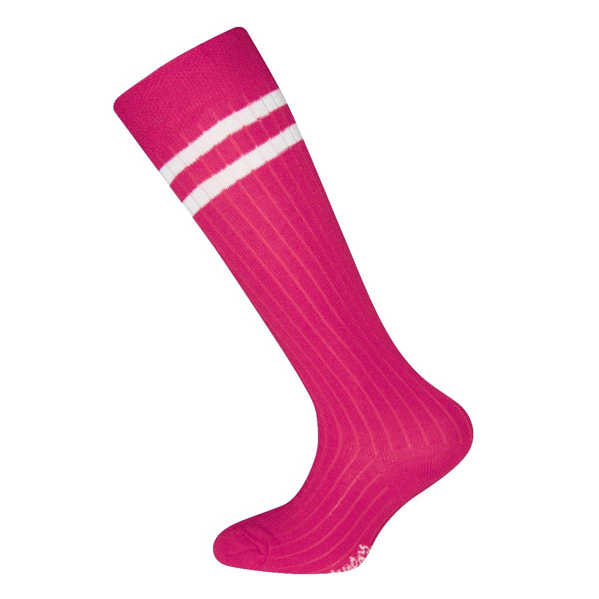 Ewers Kniekousen met rib motief 2 strepen-31/34-Pink