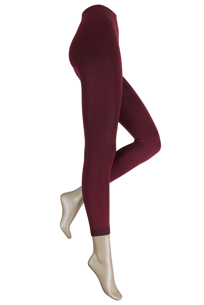 Thermo dames legging met comfort boord-XXL Plus-Bordeaux melange