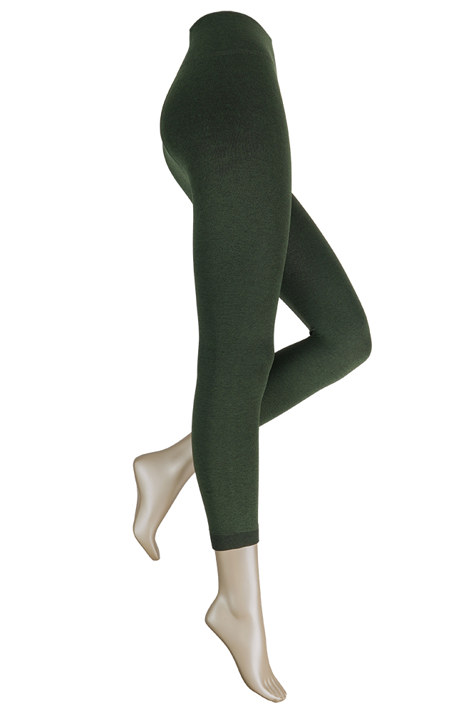 Thermo dames legging met comfort boord-S/M-Green melange