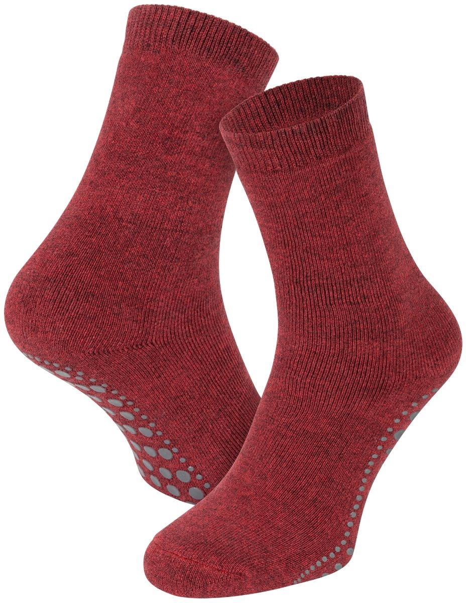 Antislip sokken van katoen-Bordeaux melange-39/42