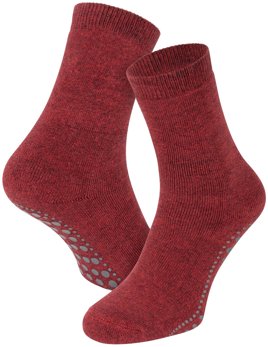 Antislip sokken van katoen-Bordeaux melange-35/38