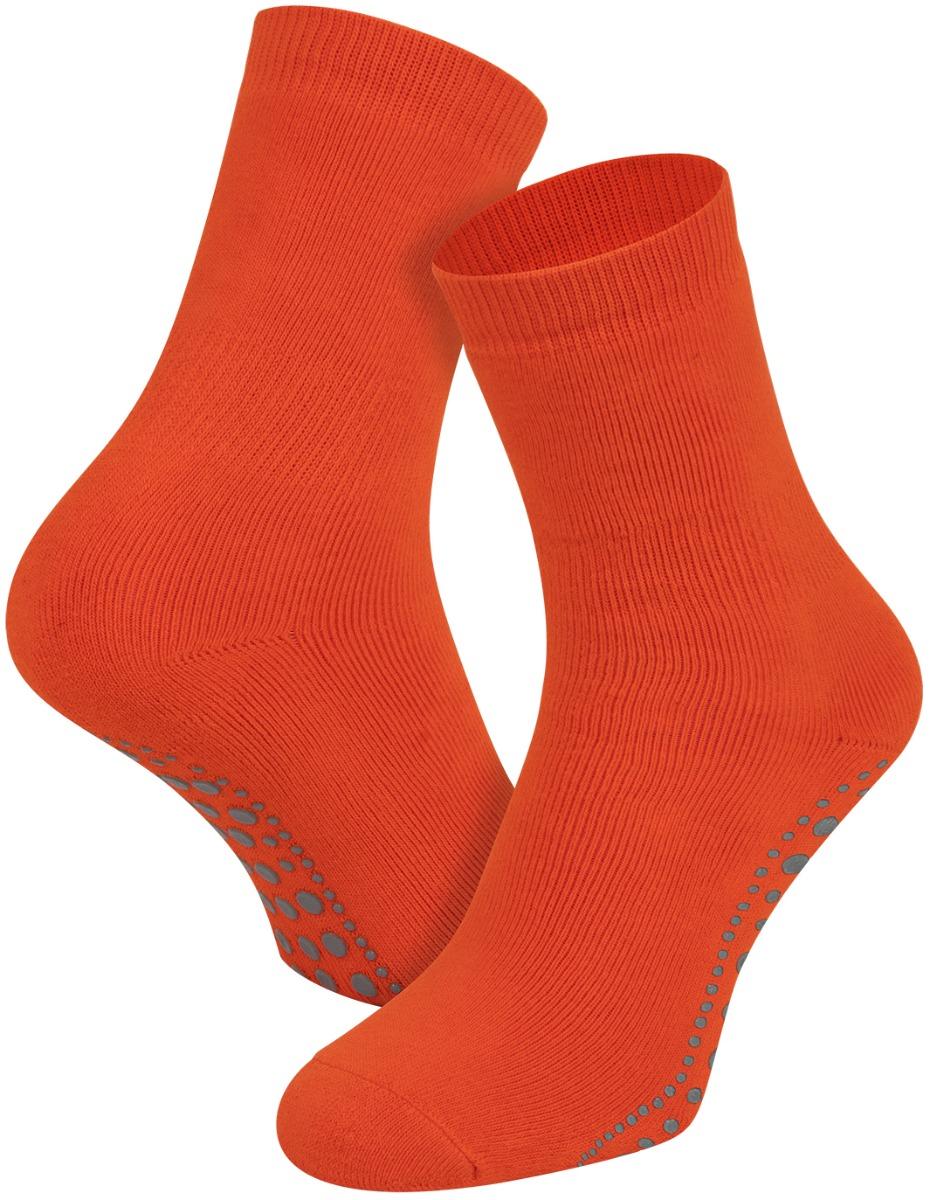 Antislip sokken van katoen-Mandarijn-35/38