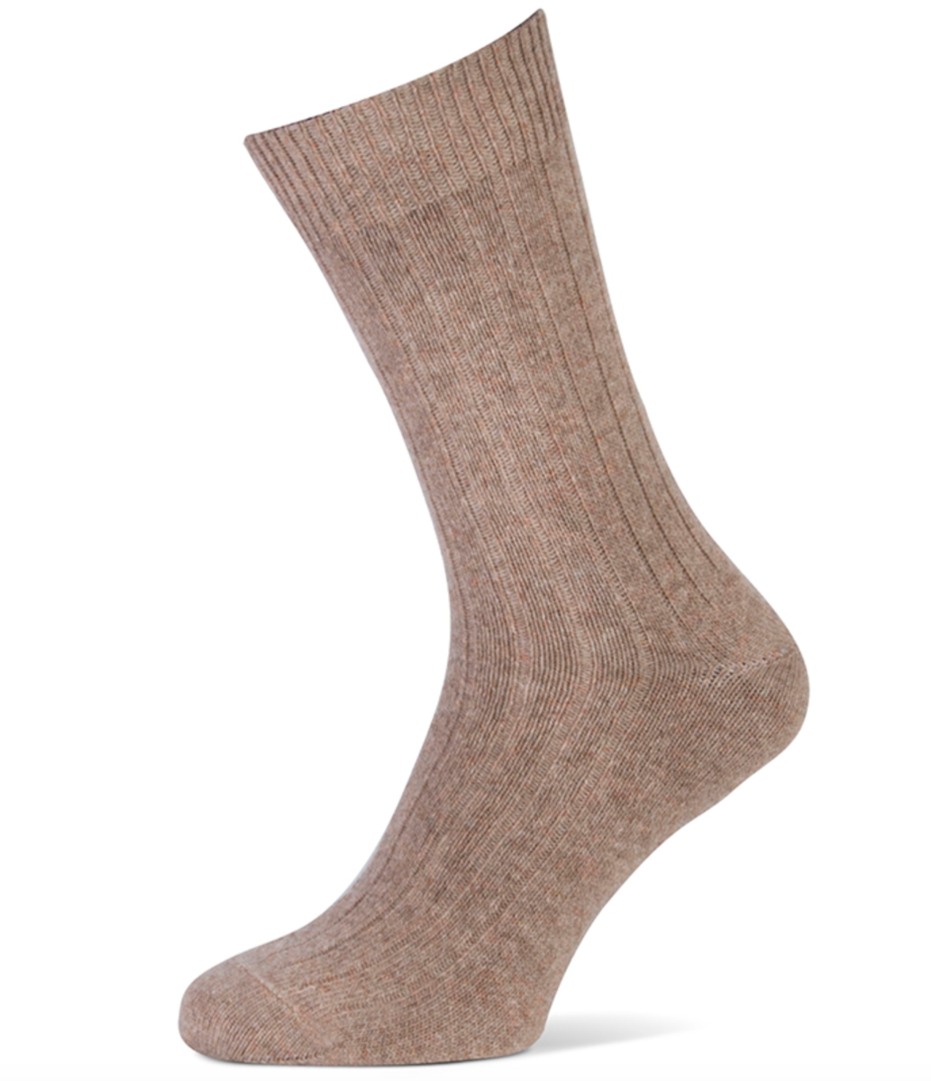 Herensokken met cashmere wol-43/46-Taupe