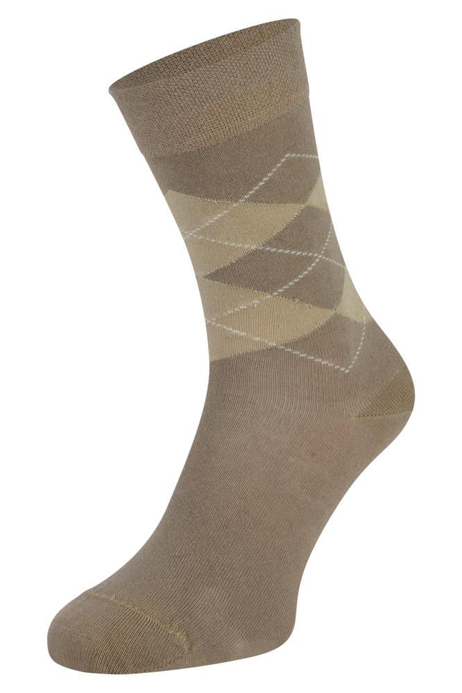 Bamboe sokken met ruiten motief-Beige-39/42