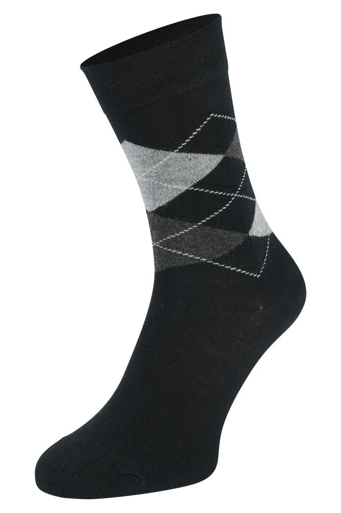 Bamboe sokken met ruiten motief-Black-43/45