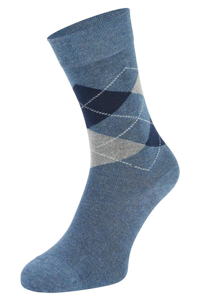 Bamboe sokken met ruiten motief-Jeans-35/38