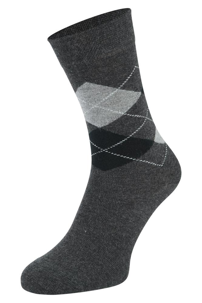 Bamboe sokken met ruiten motief-Antracite-35/38