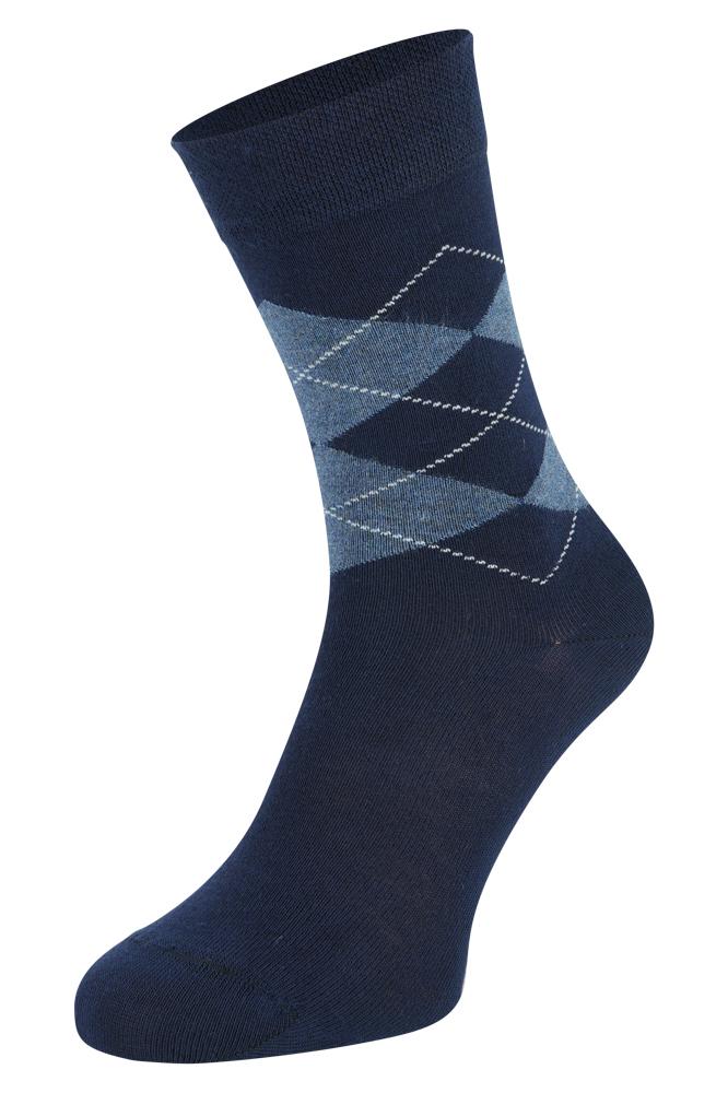 Bamboe sokken met ruiten motief-Navy-43/45