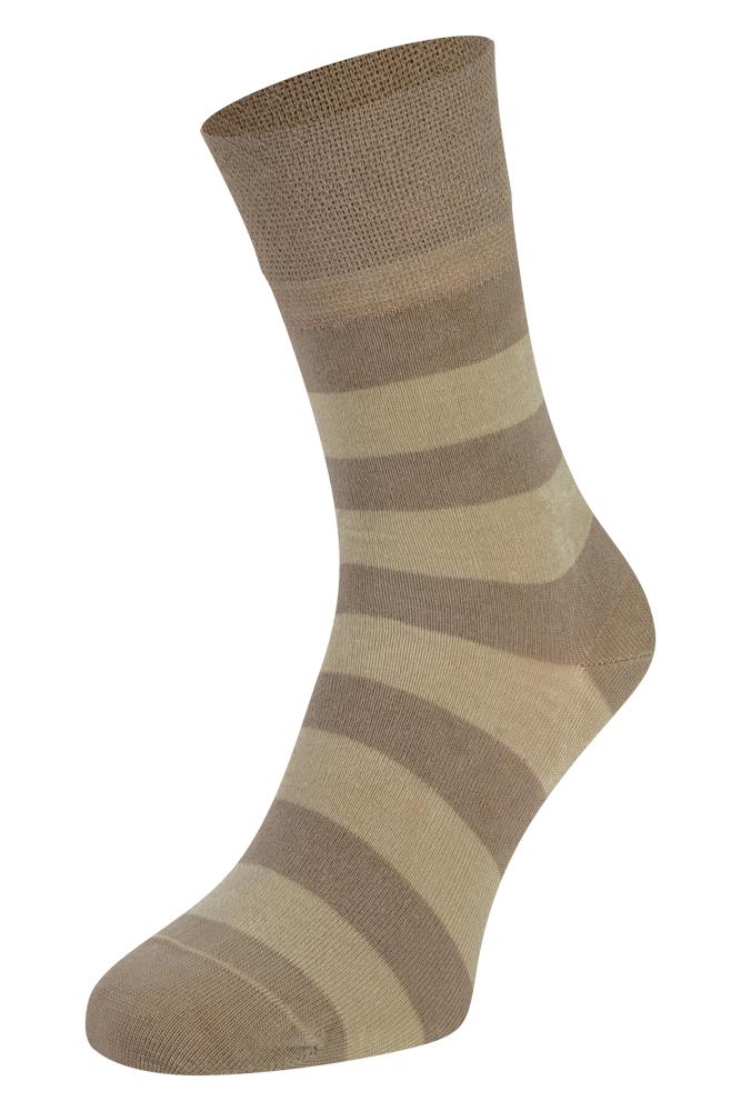 Bamboe sokken met strepen-Beige-46/47