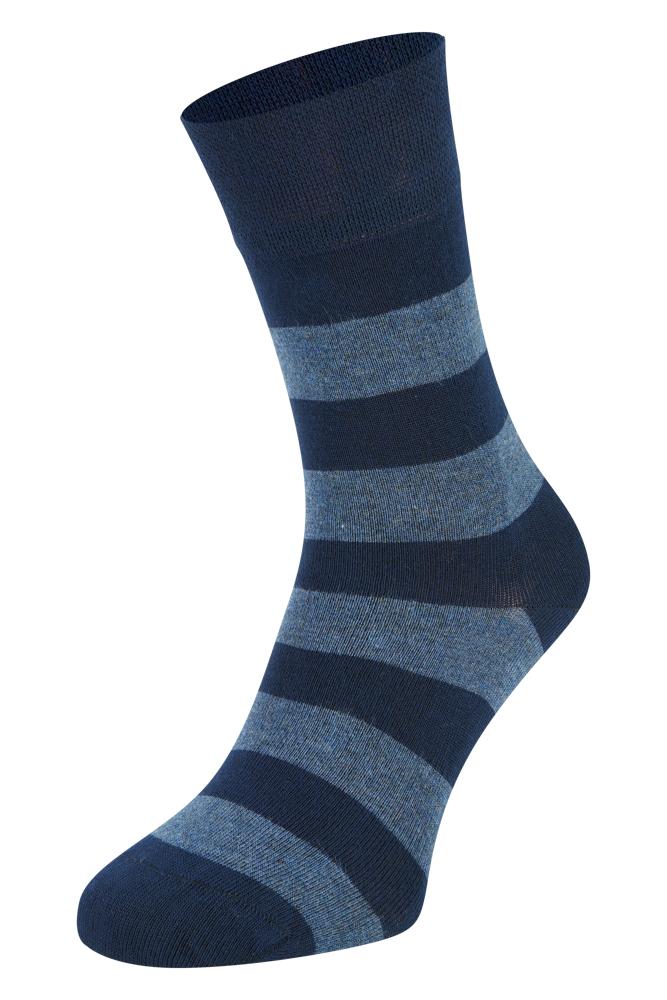 Bamboe sokken met strepen-Navy-43/45