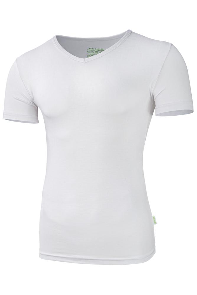 Bamboe heren t-shirt met v-hals-L-White