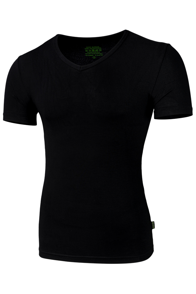 Bamboe heren t-shirt met v-hals-M-Black