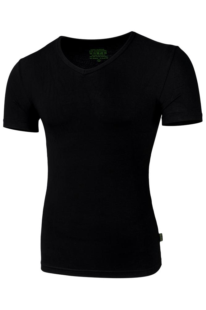 Bamboe heren t-shirt met v-hals-L-Black
