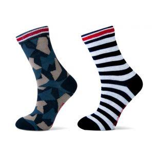 Katoenen Jongens sokken met strepen en army print.