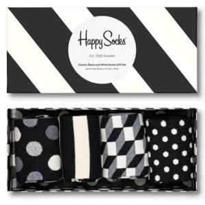Classic Black And White Socks giftbox 4-pack