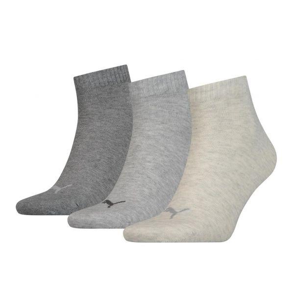 PUMA UNISEX QUARTER PLAIN 3P licht grijs | sokken online