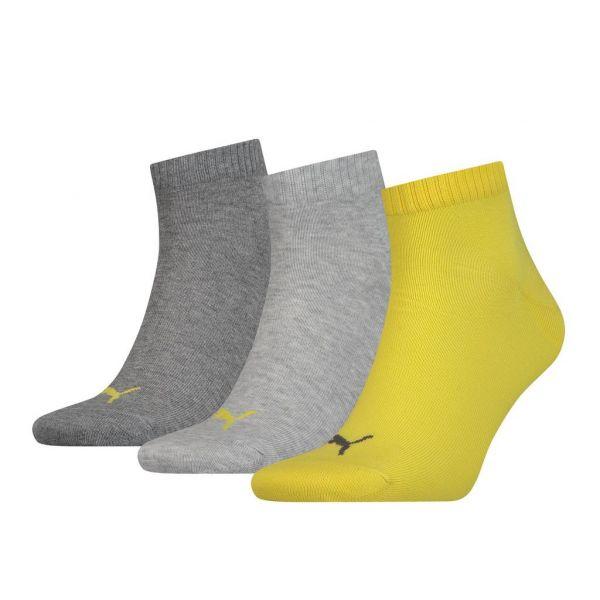 PUMA UNISEX QUARTER PLAIN 3P  yellow | sokken online