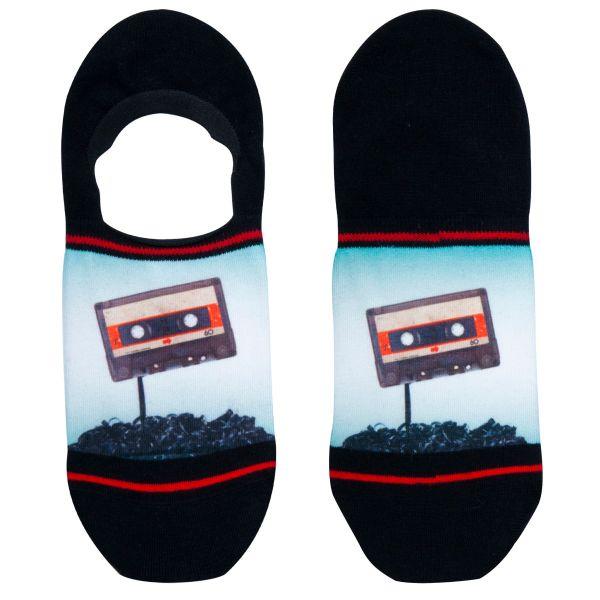 Footies sneakersokken met casette print