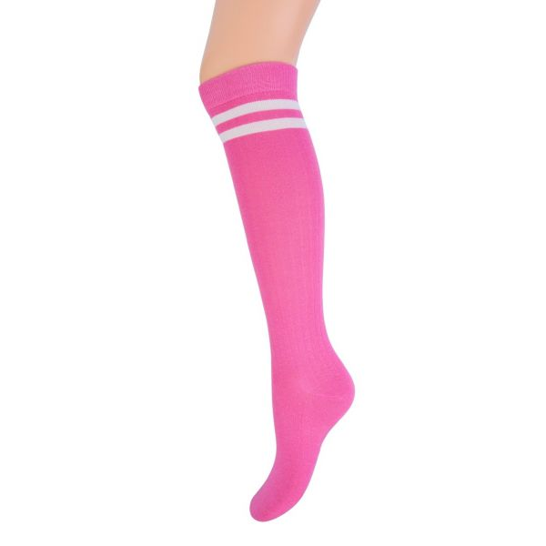 Kniekous met streep YM fuchsia | sokken online