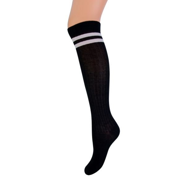 Kniekous met streep YM marine | sokken online