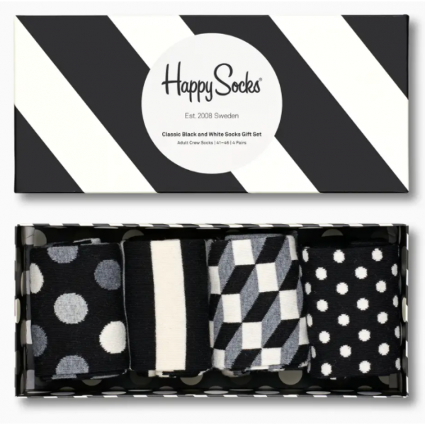 Classic Black And White Socks giftbox 4-pack