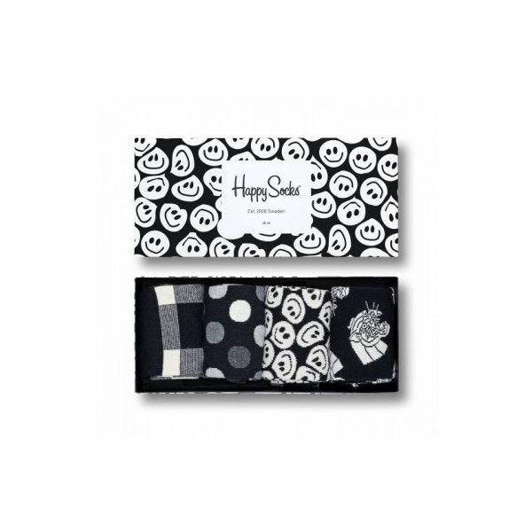 happy socks black and white   4 pack   sokken-online